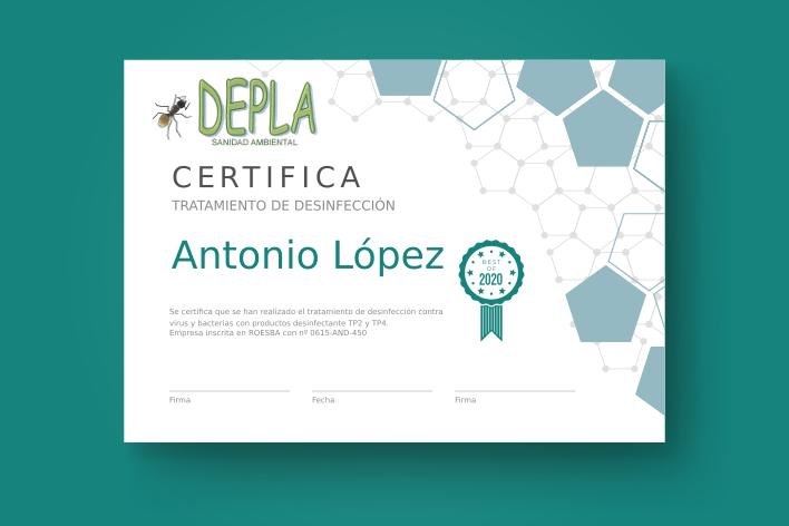 certificado de desinfección